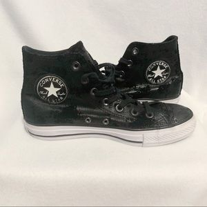 Converse Chuck Taylor Black Studded High Tops Sz 8